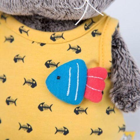 Кот Басик Baby в желтом комбинезоне с рыбкой