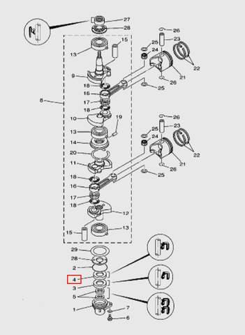 Сальник коленвала 25х38х7 для лодочного мотора T15, OTH 9,9 SEA-PRO (3-4)