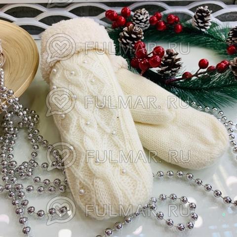 Варежки шерстяные вязаные Бусинки (цвет: белый)