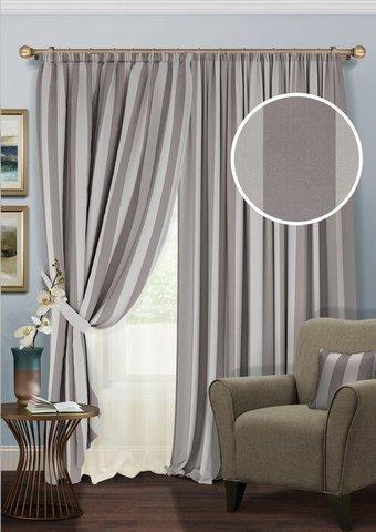 Комплект штор блэкаут с тюлем из полуорганзы Ядвига серый с полоской