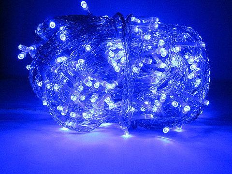 Синяя гирлянда нить на прозрачном силиконовом проводе уличная 30 м