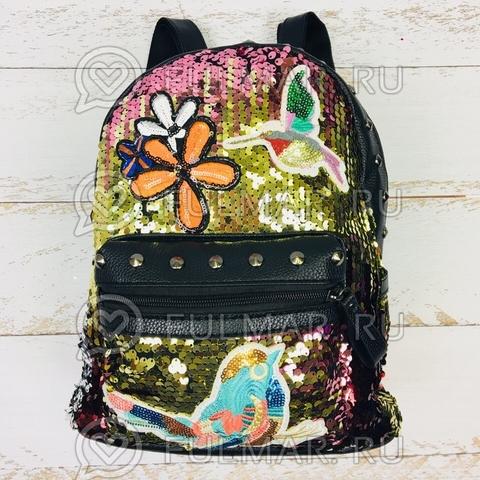 Рюкзак с пайетками и нашивками розово-золотистый