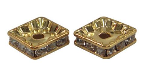 Рондель со стразами 10х10 мм. цвет золото - квадрат
