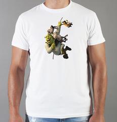 Футболка с принтом мультфильма Шрек (Shrek)  белая 006
