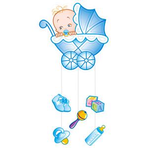 Подвеска С Днем Рождения Малыш голубая, 75х40 см