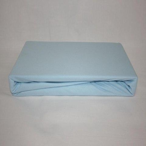 Простынь на резинке трикотажная 160x200 (голубая)