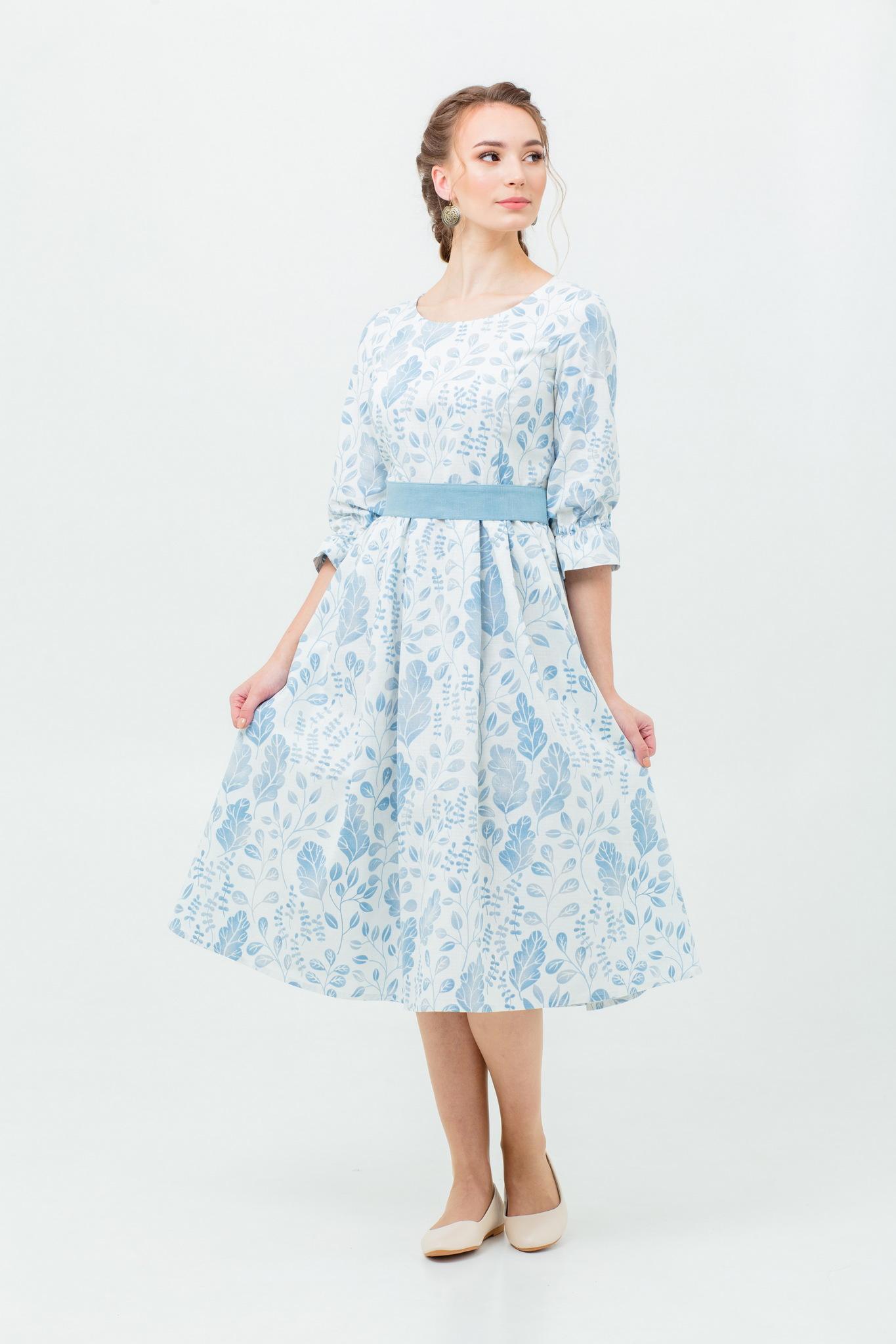Льняное славянское платье с узором