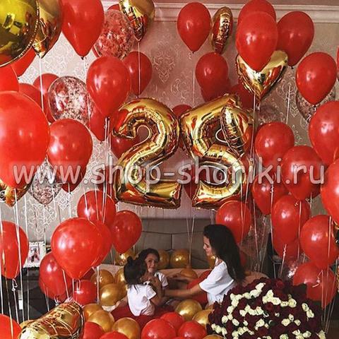 шары на 25 лет девушке красный-золото