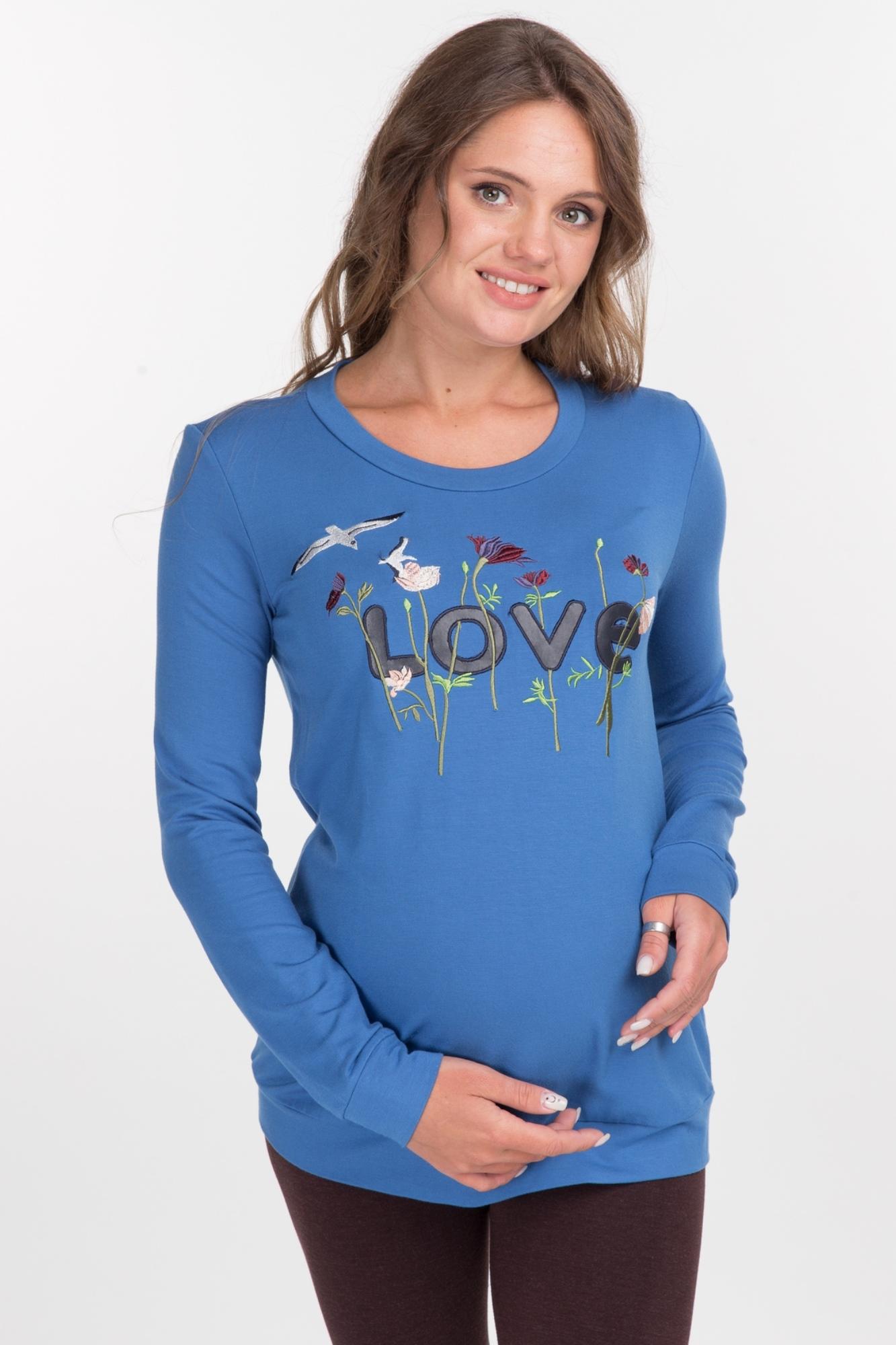 Свитшот для беременных 09074 синий