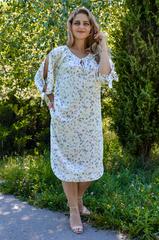 Алевтина. Нежное платье больших размеров. Цветы молоко.
