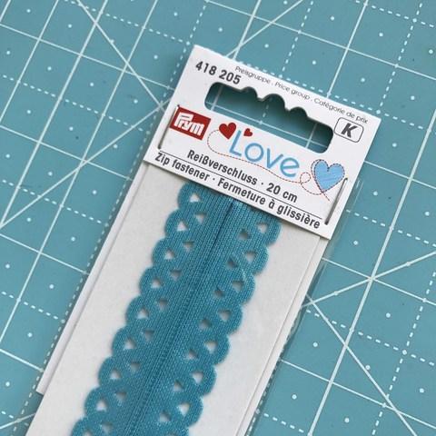 Молния декоративная потайная 20 см (бирюзовая). Prym Love. (Арт. 418205)