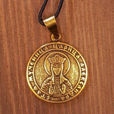 святая Александра именная нательная икона из бронзы кулон с молитвой