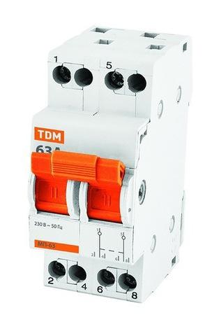 Модульный переключатель трехпозиционный МП-63 2P 63А TDM