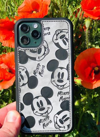 Чехол iPhone 11 Mickey Mouse Leather vintage /black/