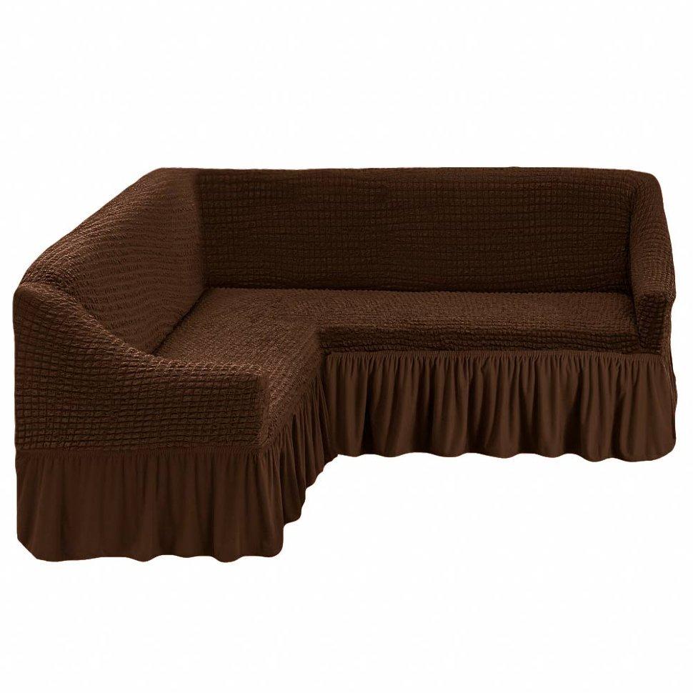 Чехол на угловой диван, шоколад
