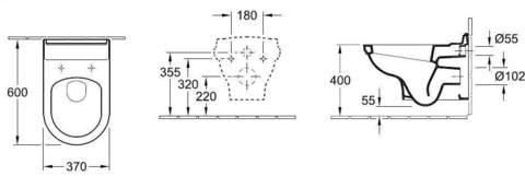 Унитаз подвесной  Villeroy & Boch Hommage  6661 B0 R1 с сиденьем микролифт 8809 S1 R1 схема