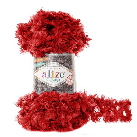 Купить Пряжа Alize Puffy Fur Цвет 6109 Красный | Интернет-магазин пряжи «Пряха»
