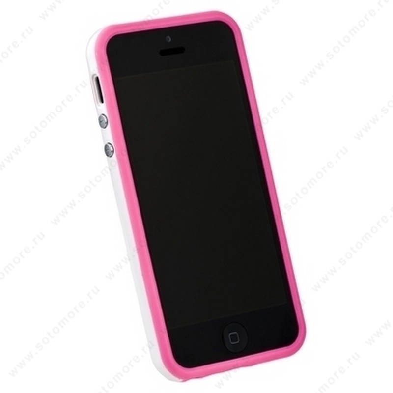 Бампер для iPhone SE/ 5s/ 5C/ 5 розовый с белой полосой