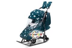 Санки коляска PIKATE Звезды «Аквамарин»
