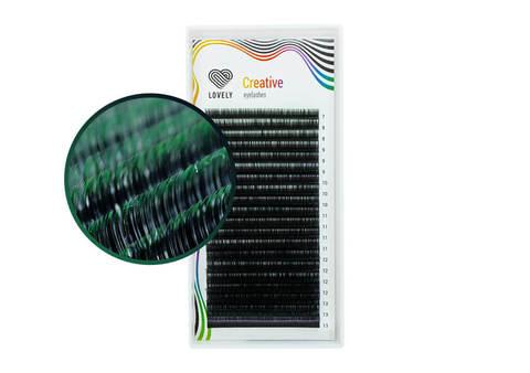 Ресницы двухтоновые зелёные Lovely - 20 линий -MIX