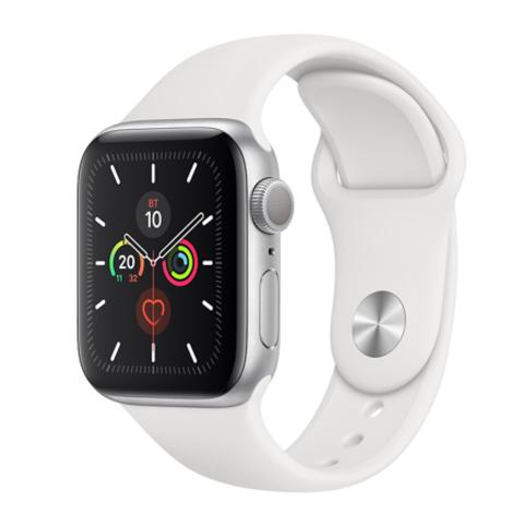 Apple Watch Series 5 GPS, 40mm, корпус из алюминия серебристого цвета, белый спортивный ремешок