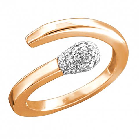 Кольцо-спичка из золота 585 пробы с фианитами