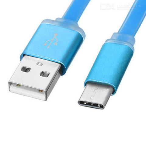 Кабель USB Type-C, 1m плоский blue
