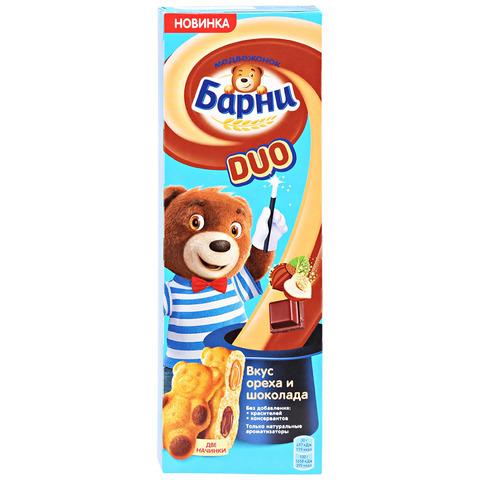 Пирожное Медвежонок Барни Дуо бисквитное с шоколадной начинкой и вкусом ореха 150 г