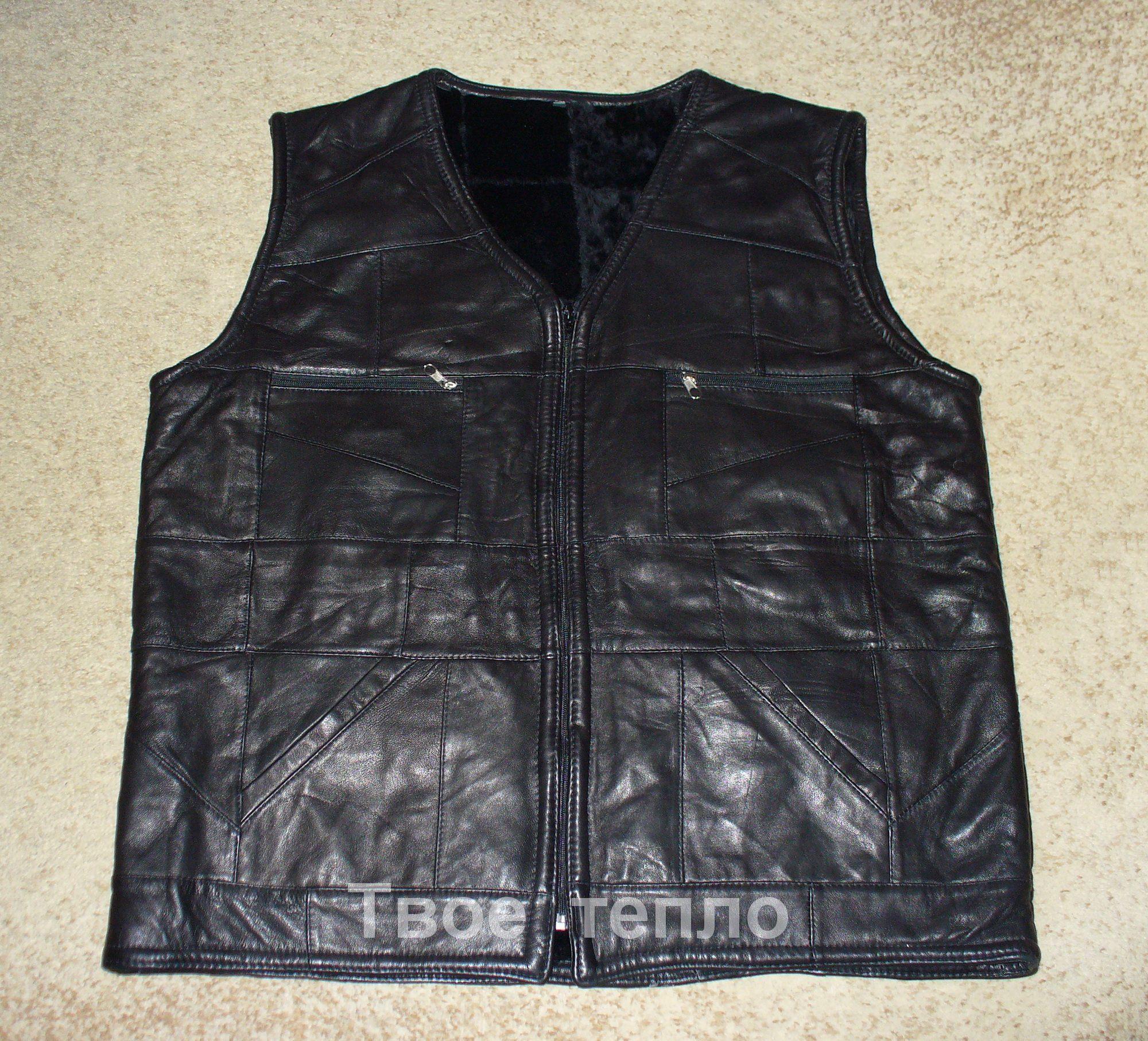 Мужской кожаный жилет