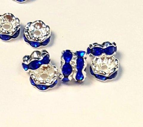 Рондель со стразами 6 мм платина - фигурная обжимка синий