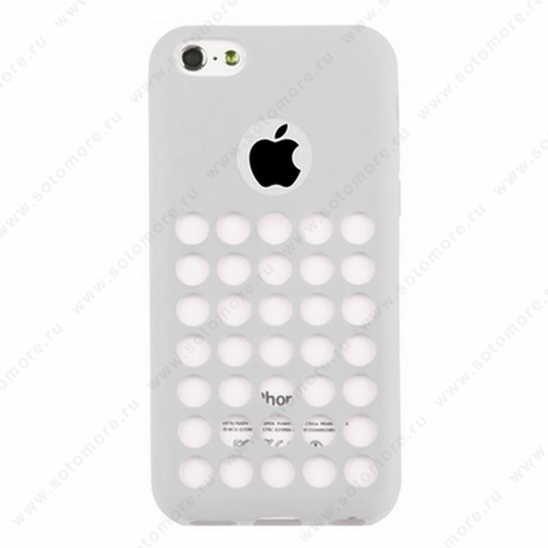 Накладка силиконовый TPU для Apple iPhone 5C с перфорацией белый