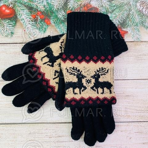 Перчатки для девочки с митёнками сенсорные два пальца Олени Чёрные