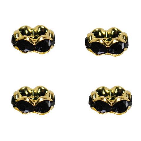 Рондель со стразами 6 мм. золото - фигурная обжимка черный