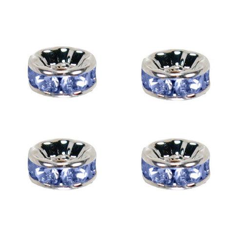 Рондель со стразами 6 мм. платина - прямая обжимка голубой