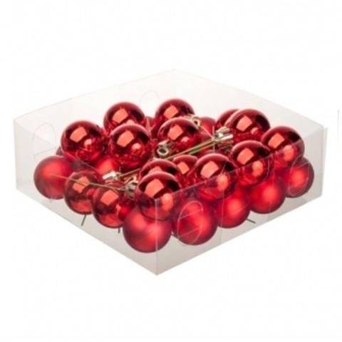 Набор шаров елочных на проволоке 32шт. (пластик), D3см, цвет: красный