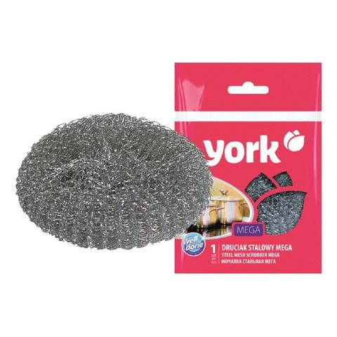 Губка для мытья посуды York металлическая 110х110х35 мм