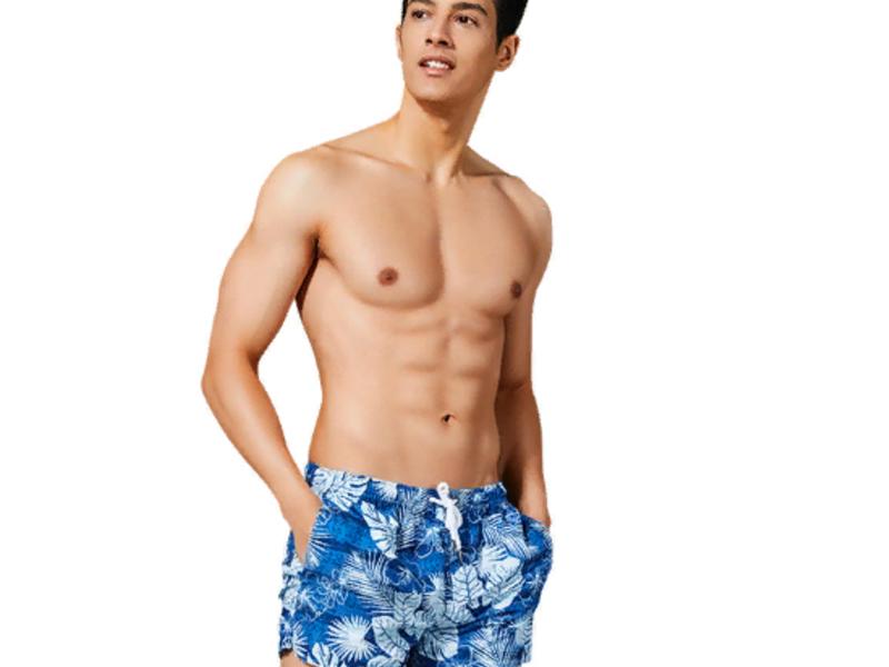 Мужские пляжные шорты синие с узором SEOBEAN