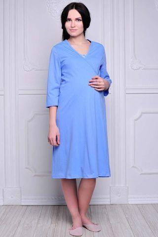 Комплект для беременных и кормящих с халатом и сорочкой 00360 голубой