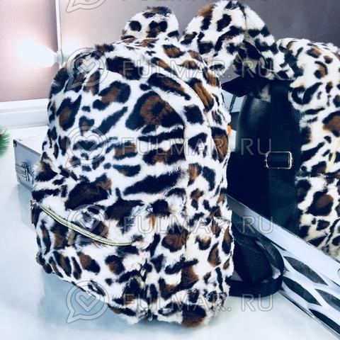Рюкзак леопардовый плюшевый с ушками (цвет: бежевый)