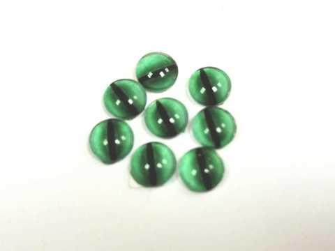 Глазки стеклянные,  6мм, зеленые. 1уп-8шт. (1112)