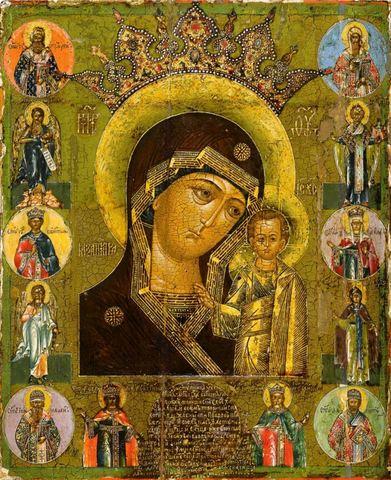 Икона Богородицы Казанская со святыми на дереве на левкасе мастерская Иконный Дом