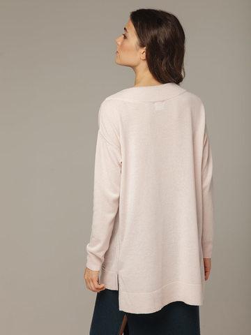 Женский розовый джемпер с V-образным вырезом из 100% кашемира - фото 3