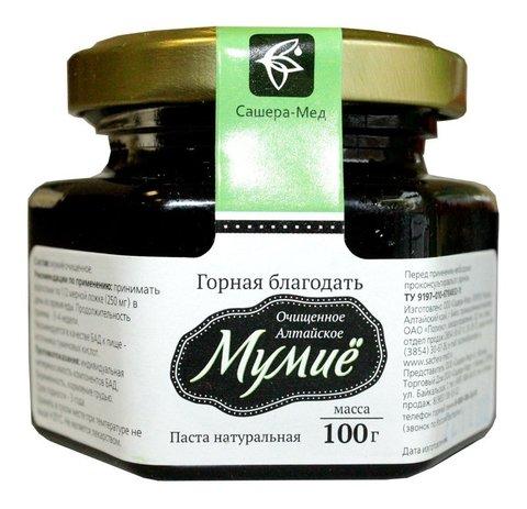 Мумие Алтайское очищенное, 100 гр. стекло (Сашера Мед)