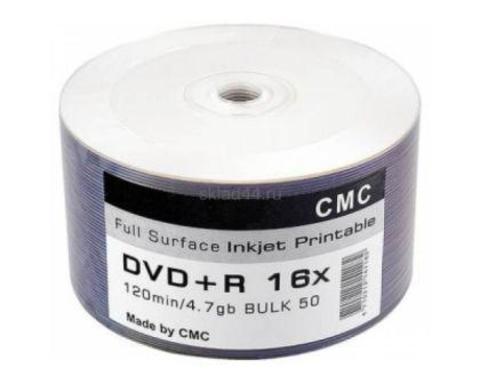 Диск DVD+R 4.7Gb 16x Printable (Full Ink) Bulk 50 (CMC)  50/600