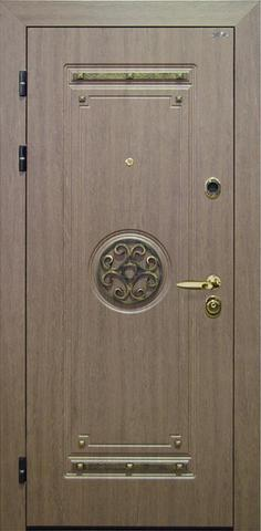 Дверь входная Интекрон Клеопатра стальная, венге коричневый с патиной, 2 замка