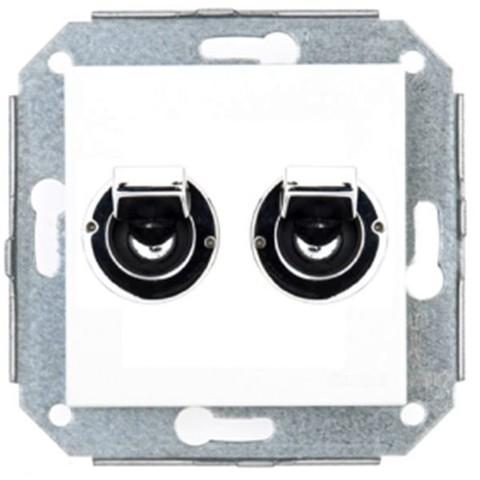 Выключатель/переключатель два тумблера на 2 направления(проходной, схема 5) 10А 250В~. Цвет Хром/белый. Fontini F37(Фонтини Ф37).. 68300262