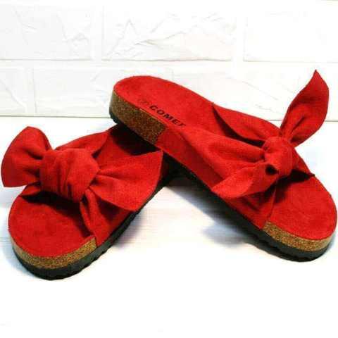 Биркенштоки - удобные сандали на плоской подошве. Ортопедические шлепки женские с бантом Comer-Red.