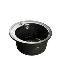 Мойка GranFest (ГранФест) Rondo GF-R450 для кухни из искусственного камня, черный