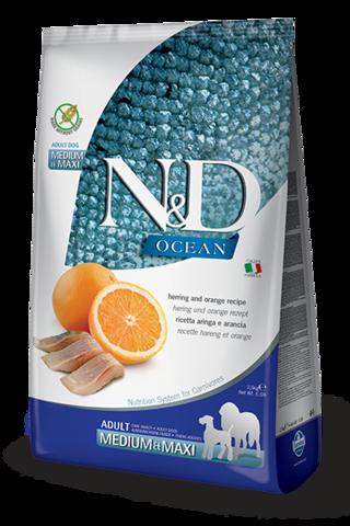 Сухой беззерновой корм Farmina N&D OCEAN HERRING & ORANGE ADULT MEDIUM & MAXI для взрослых собак средних и крупных пород