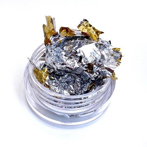 Слюда (фольга поталь) двусторонняя 14*14 см серебро/золото